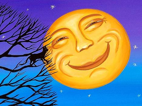 Kissing The Moon - Halloween folk art cat moon by Debbie Criswell