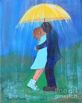Kissing Under Yellow Umbrella by Robin Maria Pedrero