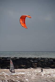 Kite Surfer and Wind Surfer by Chris Day