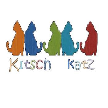 Tracey Harrington-Simpson - Kitsch Cats Silhouette Cat Collage Pattern Isolated