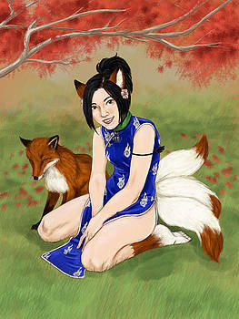 Kitsune Girl by Brandy Woods
