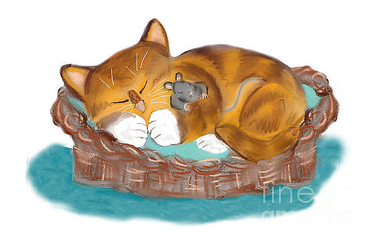 Kitten and Mouse Nap in the Cat Basket by Ellen Miffitt