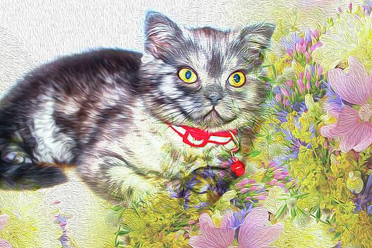 Kitten With Flowers by Tatiana Tyumeneva