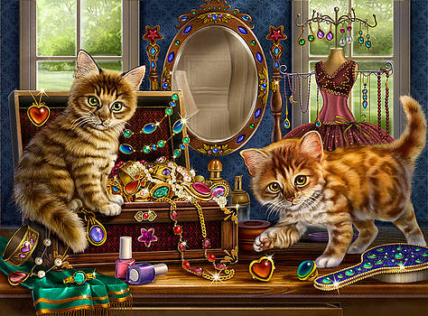 Kittens with Jewelry Box by Anne Wertheim