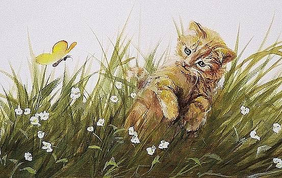 Kitty and Butterfly by Suzn Smith