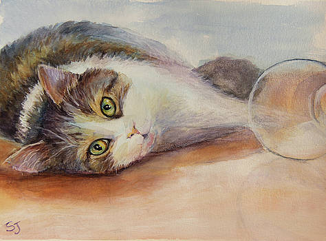 Kitty with Spilled Milk by Susan Jenkins