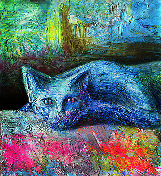 Blue Cat Not Say by Miko At The Love Art Shop