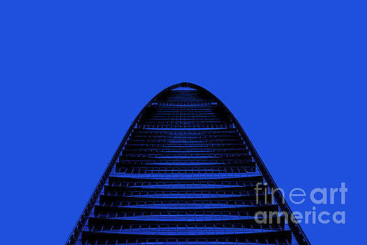 KK100 Shenzhen Skyscraper Art Blue by Marco Toscani