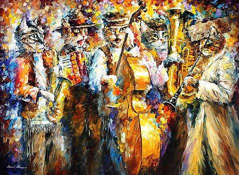 Klezmer Cats - PALETTE KNIFE Oil Painting On Canvas By Leonid Afremov by Leonid Afremov