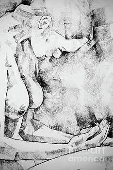 Kneeling Figure Pose Drawing by Dimitar Hristov