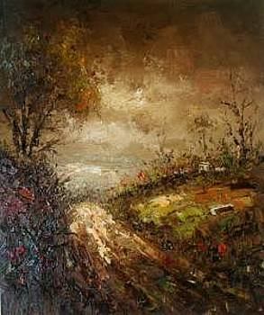 Knife Heavy Textured Landscape Oil On Canvas by Artists Online