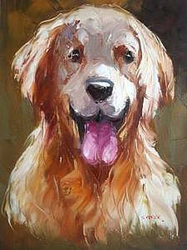 Knife Heavy Textured Oil Painting Dog On Canvas by Artists Online