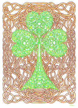 Knotted Shamrock with Knotted Background by Lise Winne