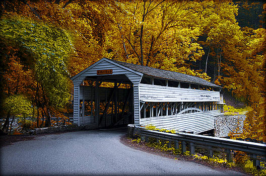 Knox Covered Bridge at valley Forge in Autumn by Bill Cannon