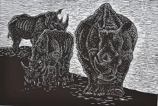 KNP White Rhinos by Sarojini Muller