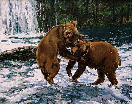 Kodiak Bears Fishing At Brooks Camp by Jackie Langford