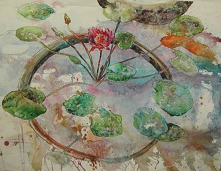Koi Among the Lily Pads by Wendy Hill