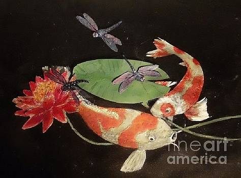 Koi And Dragonflies by Maria Elena Gonzalez