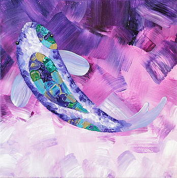 Koi Fish Purple Wall Art by Shiela Gosselin