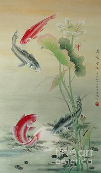 Koi Fish with Lotus by Birgit Moldenhauer