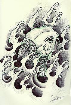 Koi through the water by Samuel Whitton