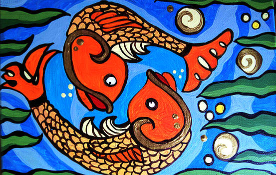 Koi W/gold 2 by Anne Robinson