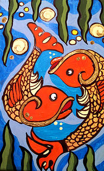 Koi W/gold by Anne Robinson