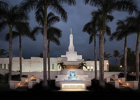 Kona Hawaii Temple-Night by Denise Bird