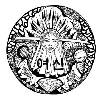 Korean Goddess Black and White by Kenal Louis