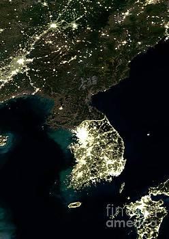 Korean Peninsula at night, satellite image by Science Photo Library