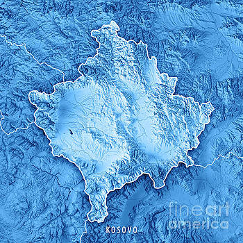 Kosovo Country 3D Render Topographic Map Blue Border by Frank Ramspott