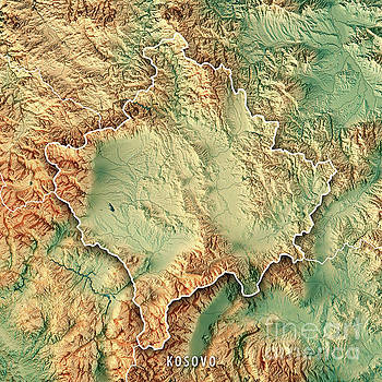 Kosovo Country 3D Render Topographic Map Border by Frank Ramspott