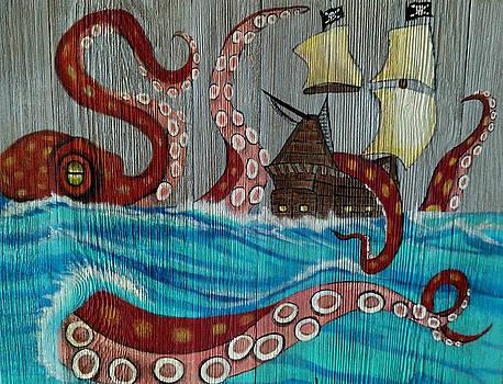 Kraken attacking Pirate Ship by Elaine Haakenson