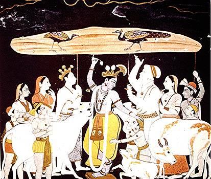 Krishna and Mt. Govardhana by Barron Holland