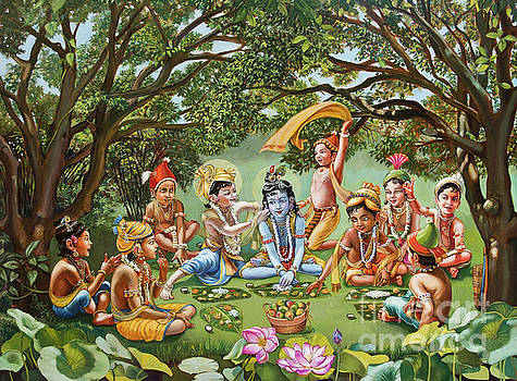 Dominique Amendola - Krishna eats lunch with his friends with no bordure