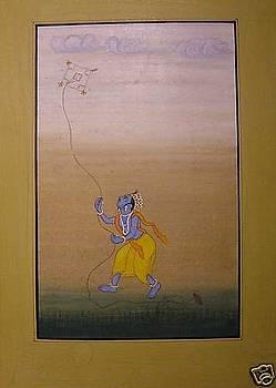 Krishna playing kite. by Unknown