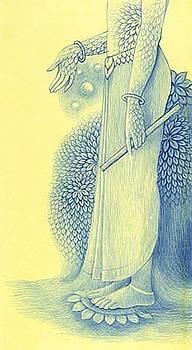 Krishna With Nature by Yatindra Jasmathiya