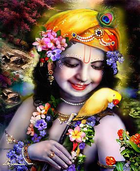 Krishna with parrot by Lila Shravani