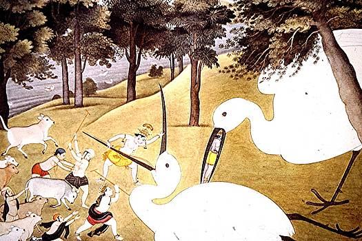 Krishna and the crane demon by Barron Holland