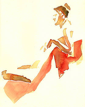 Kroki 2015 03 28_29 Maalarhelg 4 Akvarell Watercolor Figure Drawing by Marica Ohlsson