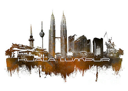Justyna Jaszke JBJart - Kuala Lumpur skyline city brown