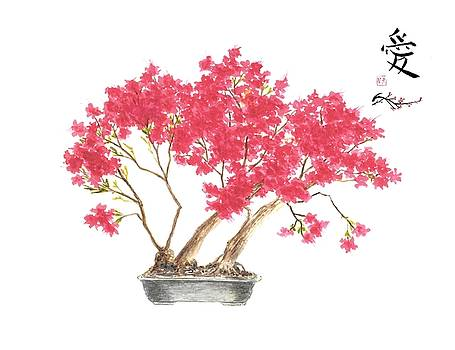 Kurume Azalea with Asian Symbol for Love by Michael Vigliotti