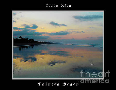Felipe Adan Lerma - la Casita Playa Hermosa Puntarenas - Sunrise One - Painted Beach Costa Rica Poster wtih text