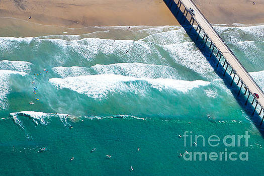 La Jolla Shores Scripps Pier Surfers Aerial View by Christy Woodrow