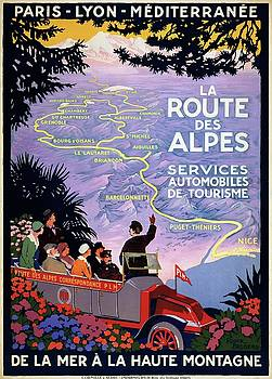 La route des Alpes, travel poster 1920 by Vintage Printery