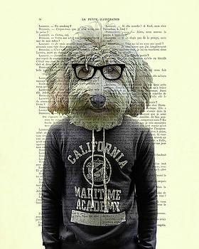 Labradoodle Dog Portrait Art by Madame Memento