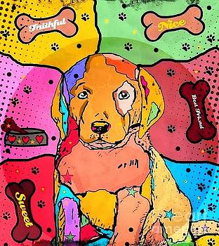 Labrador Popart by Nico Bielow by Nico Bielow