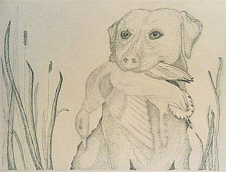 Labrador Retriever with Duck by Karen Fowler