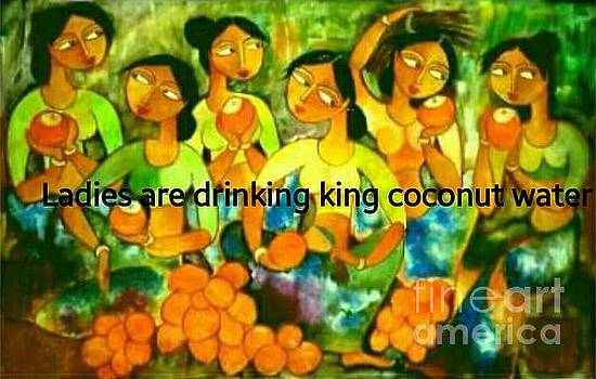 Ladies Are Drinking King Coconut Water by Thushari Gamage