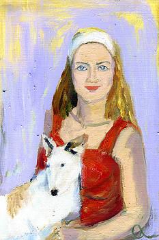 Lady And Her Dog by Lelia Sorokina